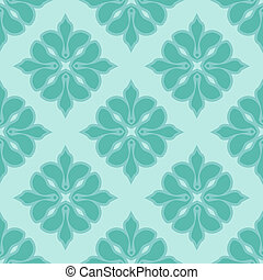 Seamless damask pattern in blue colors Vector background