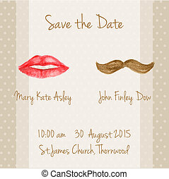 Wedding card with woman lips and men moustaches. Save the...