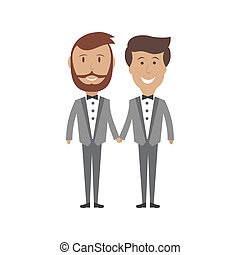 Gay male couple wedding card, vector illustration - Loving...
