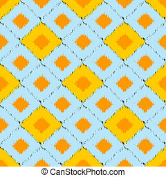 Seamless ikat pattern in yellow and blue colors. Vector...