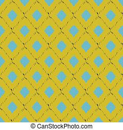 Seamless ikat pattern in yellow and blue colors Vector...