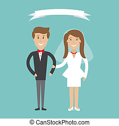 Cute cartoon wedding couple - Vector illustration Cute...