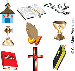 Church Icons 1 Vector, Illustration of 9 churchChristian...
