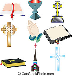 Church Icons 2 Vector, Illustration of 9 churchChristian...