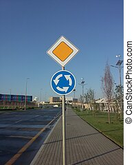 Road symbol signs or traffic symbol - The traffic signs on...