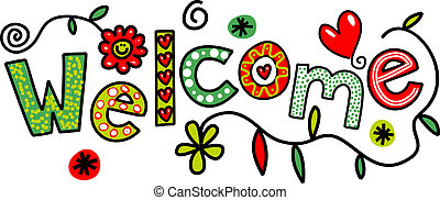 Cartoon Welcome Text - Hand drawn cartoon doodle text which...