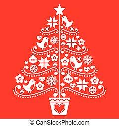 Christmas tree design - folk style - Retro style white Xmas...
