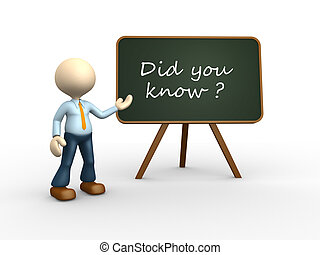 Did you know? - 3d people - man , person with blackboard....