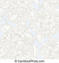 pattern - Sprigs of blooming hydrangea. Engraved seamless...