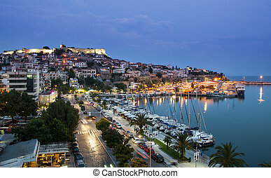 Kavala city in Greece by night