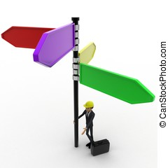 3d man with road sign concept