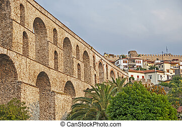 Kavala Greece, aqueduct and castle