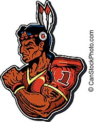 native american football player - muscular native american...