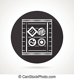 Black round vector icon for sushi set - Flat black round...