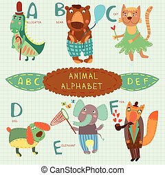 Very cute alphabet.A, b, c, d, e, f letters. Alligator, bear, cat, dog, elephant, fox.Alphabet design in a colorful style.