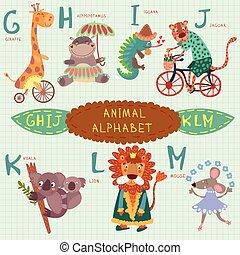 Very cute alphabet. G, h, i, j, k, l, m letters. Giraffe, hippopotamus, iguana, jaguar, koala, lion, mouse.Alphabet design in a colorful style.