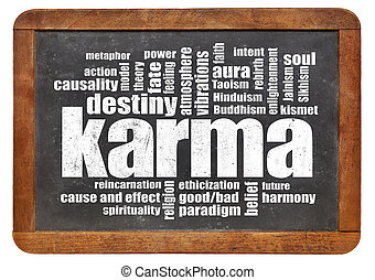 karma word cloud on blackboard - karma word cloud on a...