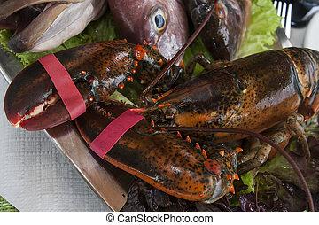 crab on metallic platter