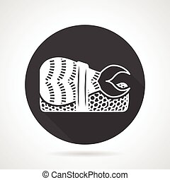 Black round vector icon for nigiri sushi - Flat black round...
