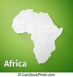 Africa Map on Green Background, excellent vector...