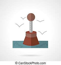 Restrictive buoy flat vector icon - Flat color style vector...