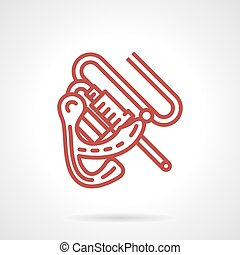 Induction tattoo machine red line vector icon - Flat red...