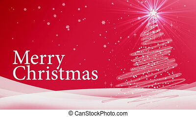merry christmas tree animation red background