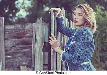 portrait of a beautiful young  girl  outdoors