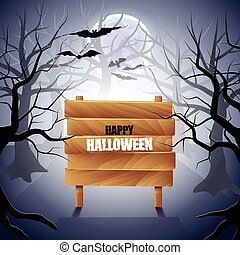 Foggy forest with wooden sign Halloween background detailed...