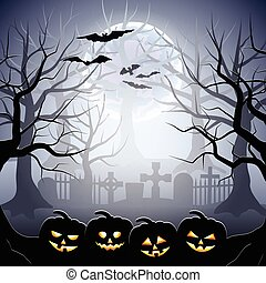 Halloween graveyard and pumpkins in foggy forest - Graveyard...