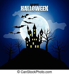 Forest with castle and moon Halloween background