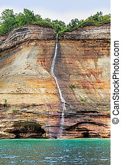 Bridal Veil Falls at Pictured Rocks - Bridal Veil Falls, a...