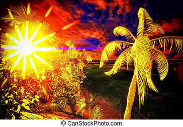 Tropical paradise at dawn time