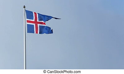 Icelandic national flag in the wind - Icelandic national...