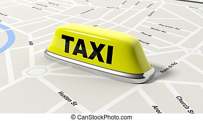 Yellow taxi car roof sign on map, isolated on white...