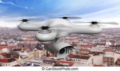 Drone with camera over cityscape background