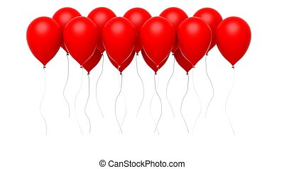 Group of red blank balloons isolated on white background