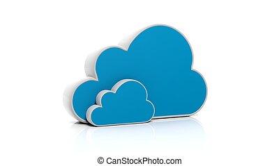 青, 隔離された, 背景, 白, アイコン, 雲, 3D