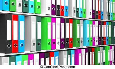 Multicolor office folders with blank label in a row on...