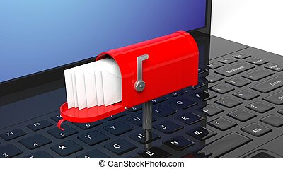 Red mailbox with with envelopes on black laptop keyboard