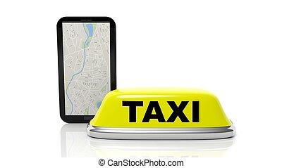 amarillo, taxi, coche, techo, señal, y, tableta, con,...