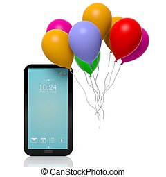 Group of colorful balloons with tablet isolated on white background