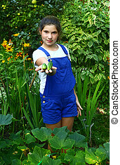 teen beautiful girl with ripe just from seedbed cucumbers -...