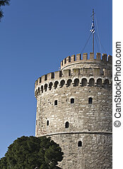 White tower at Thessaloniki city in Greece