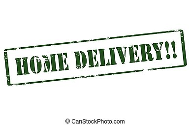 Home delivery - Rubber stamp with text home delivery inside,...
