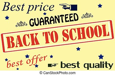 Set of stamps - Rubber stamps with text back to school...