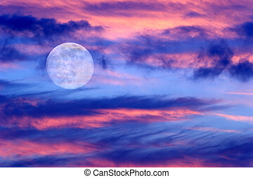 Moon Clouds Skies - Moon clouds skies is a vibrant surreal...