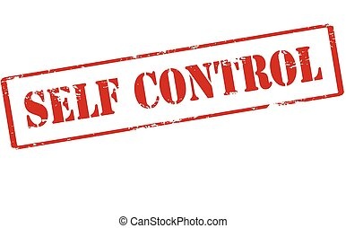 Self control - Rubber stamp with text self control inside,...