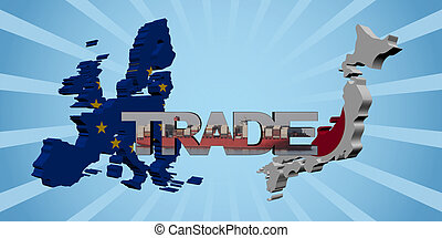 EU and Japanese map flags with trade text illustration