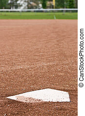 Home plate at a baseball diamond - A closeup of home plate...